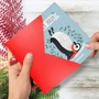 Funny Merry Christmas Paper Card By Ashley Spires From NobleWorksCards.com - Holiday Yoganimals-Penguin image 2