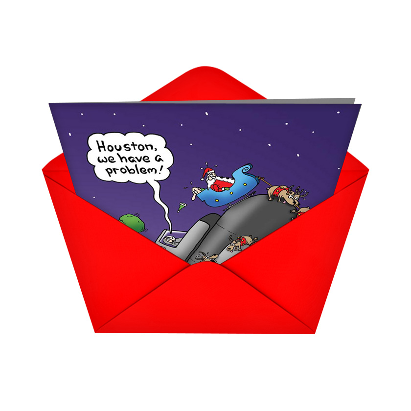 Santa Space Wreck Xmas Card
