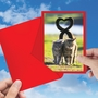 Artful Valentine's Day Greeting Card From NobleWorksCards.com - Loving Animals - Cats image 3
