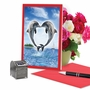 Beautiful Valentine's Day Paper Card From NobleWorksCards.com - Loving Animals - Dolphins image 5