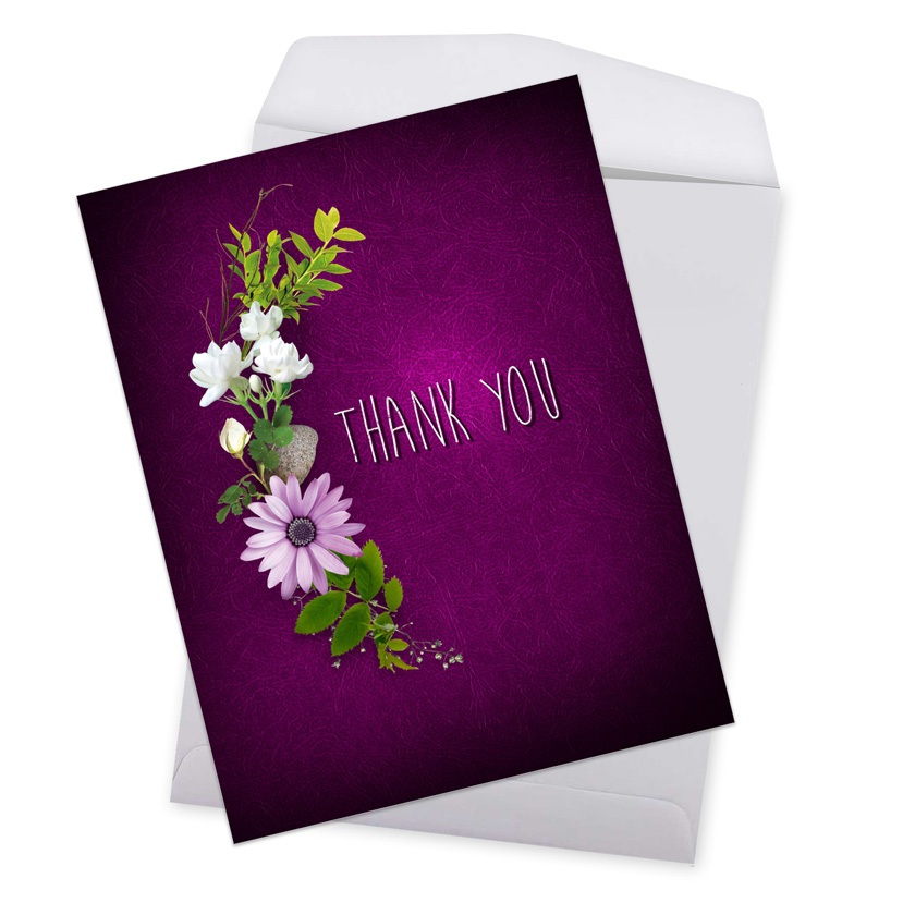 many thanks  purple creative thank you giant printed card