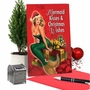 Humorous Merry Christmas Paper Greeting Card From NobleWorksCards.com - Mermaid Kisses and Wishes image 5