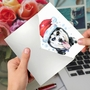Stylish Merry Christmas Paper Greeting Card From NobleWorksCards.com - Merry Mutts - Husky image 3