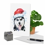 Stylish Merry Christmas Paper Greeting Card From NobleWorksCards.com - Merry Mutts - Husky image 6