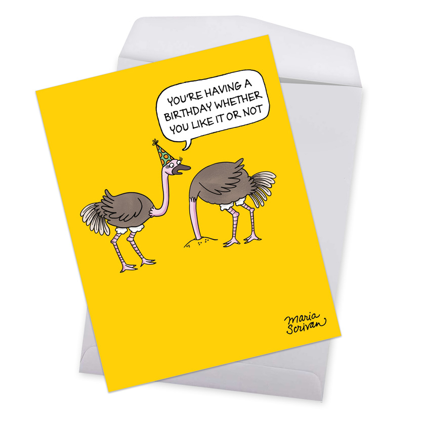 ostrich party hilarious birthday jumbo printed greeting card