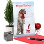 Stylish Merry Christmas Card From NobleWorksCards.com - Patterned Animals - Bear image 6