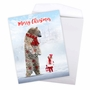 Creative Merry Christmas Jumbo Printed Greeting Card From NobleWorksCards.com - Patterned Animals - Bear image 3