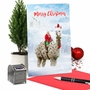 Stylish Merry Christmas Paper Card From NobleWorksCards.com - Patterned Animals - Llama image 6