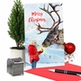 Stylish Merry Christmas Paper Greeting Card From NobleWorksCards.com - Patterned Animals - Reindeer image 6