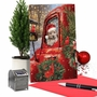 Stylish Merry Christmas Paper Greeting Card By Mike Donnelly From NobleWorksCards.com - Red Truck Puppies image 6