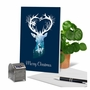 Stylish Merry Christmas Paper Greeting Card From NobleWorksCards.com - Reindeer Silhouette - pond image 6