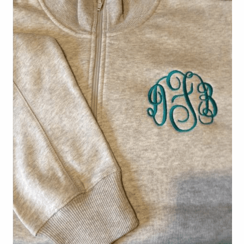Ladies 1/4 Zip Monogrammed Sweatshirt with Contrast Stitching