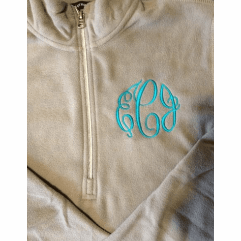 Ladies Microfleece 1/2 Zip Pullover with a 3 Initial LC Monogram 2X-3X
