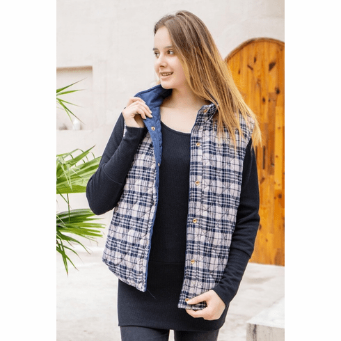 Navy & Gray Plaid Reversible Quilted Vest