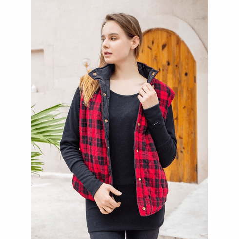 Red & Black Plaid Quilted Reversible Vest