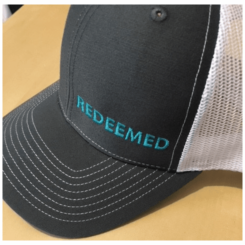 REDEEMED Trucker Hat with Mesh Back (Charcoal with Teal pictured)