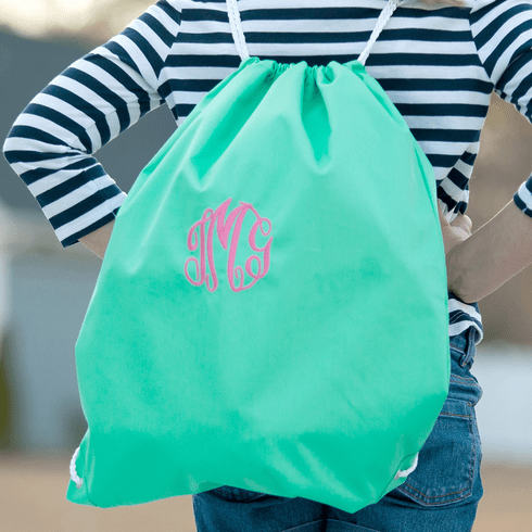 Solid Mint Drawstring Backpack