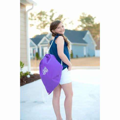 Solid Purple Drawstring Backpack