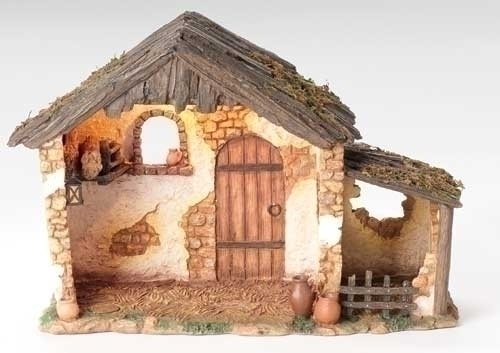 """10"""" Lighted Resin Stable for 5"""" Scale Figurines - Fontanini"""