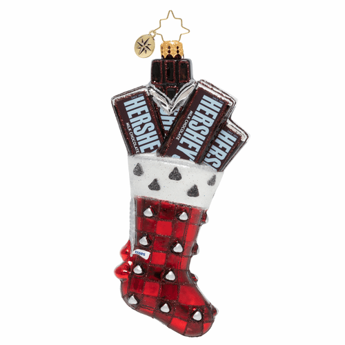 A Chocolate Kiss Stocking Hershey's Ornament by Christopher Radko