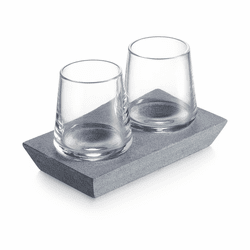 Alpine Whiskey Glass with Soapstone Base, Set of 2 by Simon Pearce