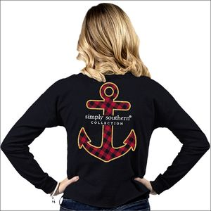 Anchor Black Shortie Long Sleeve Tee by Simply Southern