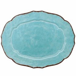 Antiqua Turquoise X-Large Oval Tray by Le Cadeaux