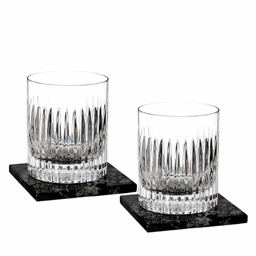 Aras Double Old Fashioned Pair with Marble Coasters by Waterford