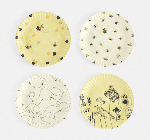 """Assorted Busy Bees """"Paper Plate Look"""" Melamine 9"""" Plate by One Hundred 80 Degrees - Set of 4"""