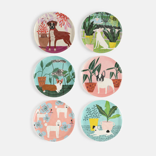 """Assorted Dog Melamine 9"""" Plate by One Hundred 80 Degrees - Set of 6"""