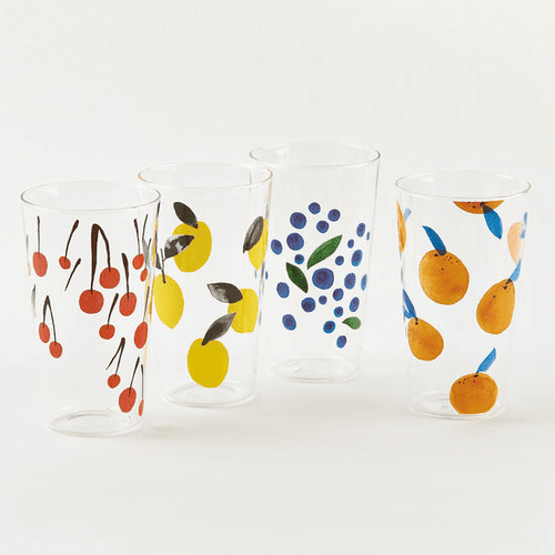 "Assorted Fruit Glass 6"" Tumbler by One Hundred 80 Degrees - Set of 4"