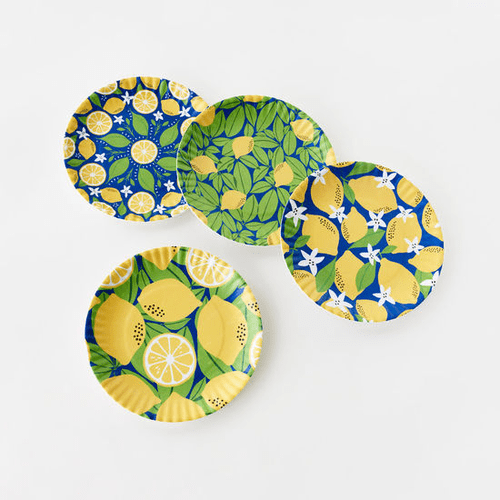 "Assorted Lemon ""Paper Plate Look"" Melamine 9"" Plate by One Hundred 80 Degrees - Set of 4"