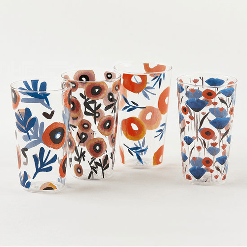 """Assorted Poppy Glass 6"""" Tumbler by One Hundred 80 Degrees - Set of 4"""