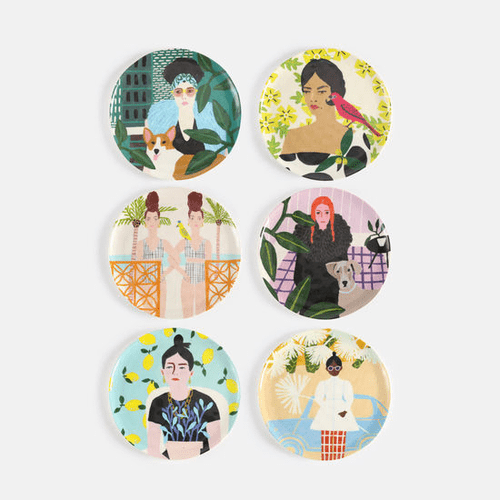 """Assorted Woman Melamine 9"""" Plate by One Hundred 80 Degrees - Set of 6"""