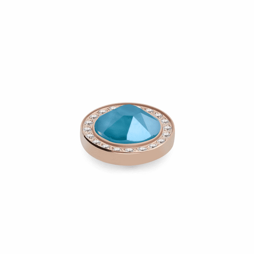 Azure Blue 10.5mm Rose Gold with Crystal Border Interchangeable Top by Qudo Jewelry