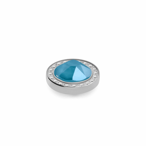 Azure Blue 10.5mm Silver with Crystal Border Interchangeable Top by Qudo Jewelry