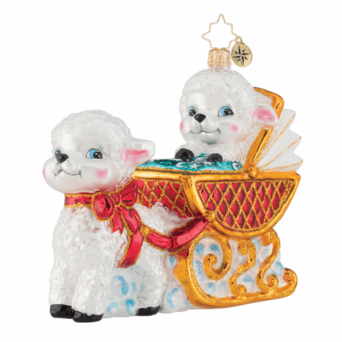 Baby Lamb Sleigh Ride Ornament by Christopher Radko