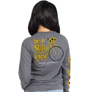 Be Still & Know Dark Heather Gray Long Sleeve by Simply Southern
