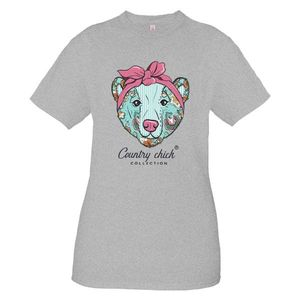 Bear Heather Grey Country Chick Short Sleeve Tee by Simply Southern