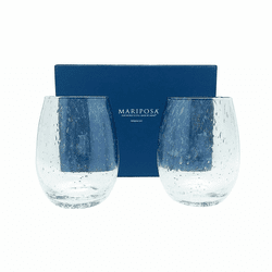 Bellini Stemless Red Wine Glasses - Set of 2 Gift Box - by Mariposa