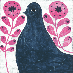 Black Bird In Flowers Art Print Collection by Sugarboo Designs