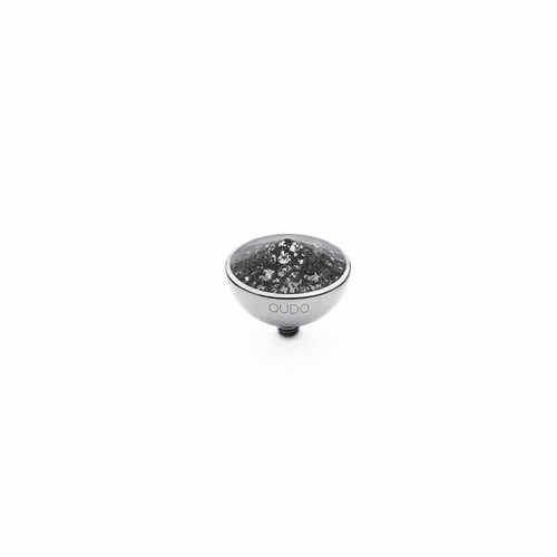 Black Patina 13mm Silver Interchangeable Top by Qudo Jewelry