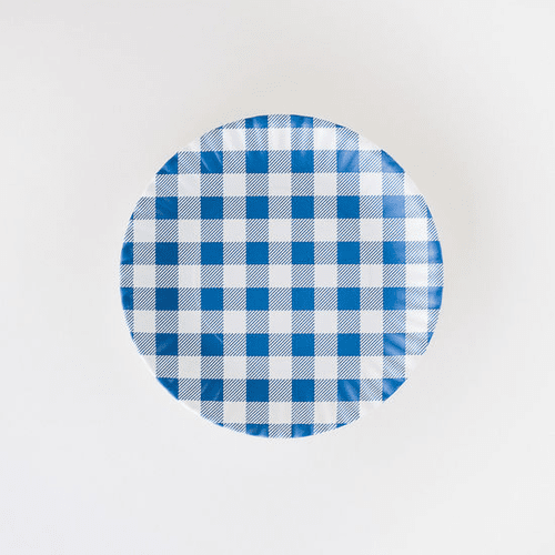 """Blue Gingham """"Paper Plate Look"""" Melamine 9"""" Plate by One Hundred 80 Degrees - Set of 4"""