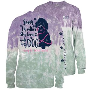 Bohemian Tiedye Rather Stay Home and Walk My Dog Long Sleeve Tee by Simply Southern