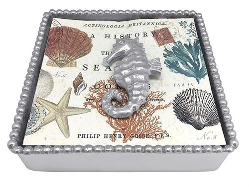 Seahorse Beaded Napkin Box by Mariposa