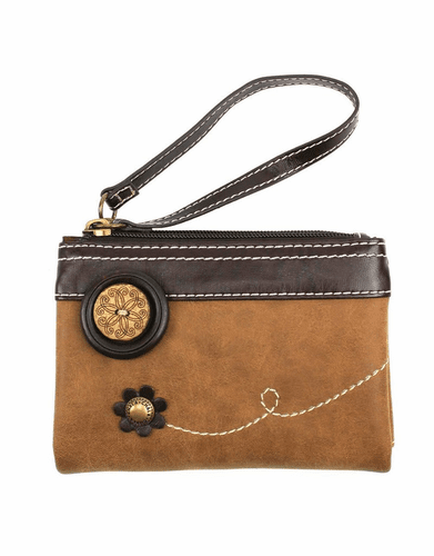 Brown Double Zip Wallet by Chala