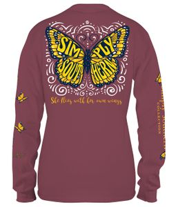 Butterfly Flies With Her Own Wings Maroon Long Sleeve Tee by Simply Southern