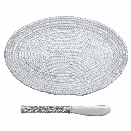Ceramic Rope Oval Plate & Rope Spreader by Mariposa
