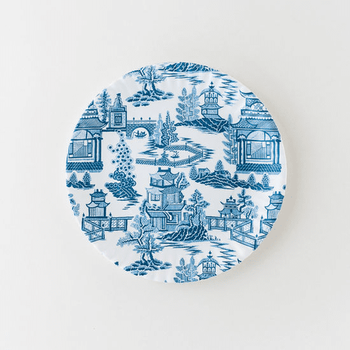 """Chinoiserie """"Paper Plate Look"""" Melamine 9"""" Plate by One Hundred 80 Degrees - Set of 4"""