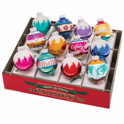"""Christmas Confetti 1.75"""" Decorated Rounds  (Set of 12) by Christopher Radko  - Special Order (Availa"""